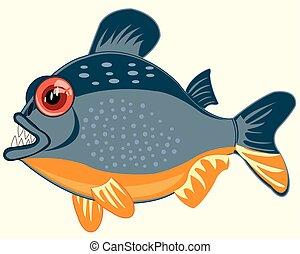 piranhas, isolé, poisson blanc, fond