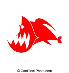 Piranhas logo sign. Marine Predator fish of Amazon. Toothed...