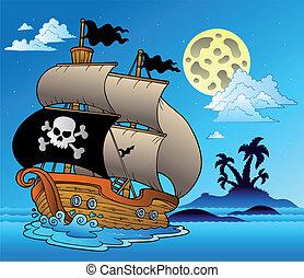 pirat, żaglówka, z, wyspa, sylwetka