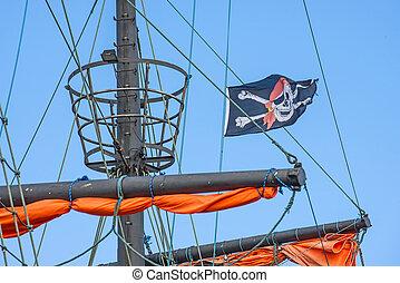pirat, bandera, na, niejaki, historyczny, statek