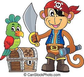 pirat, małpa