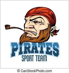 pirat, maskotka, z, bandana, i, rura