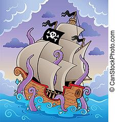 pirat, schiff, mit, tentakel, in, sturm