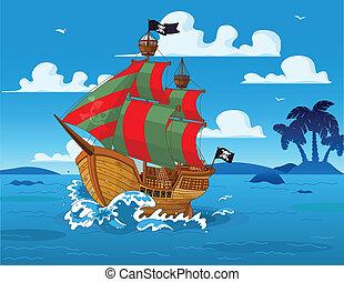 pirat, statek, na morzu