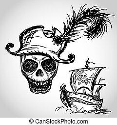 pirat, totenschädel, mit, hut, und, pirat, schiff