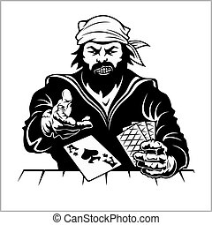 pirat, z, interpretacja, karcięta., rocznik wina, stylizowany, drawing.