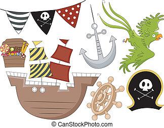 pirata, aniversário, projete elementos, 2