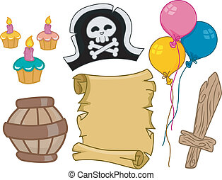 pirata, aniversário, projete elementos