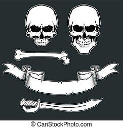 pirata, bandiera, kit strumenti