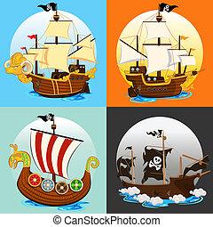 pirata, barco, colección, conjunto