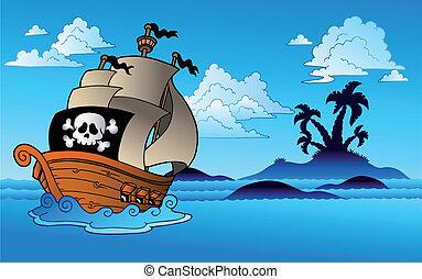 pirata, barco, con, isla, silueta