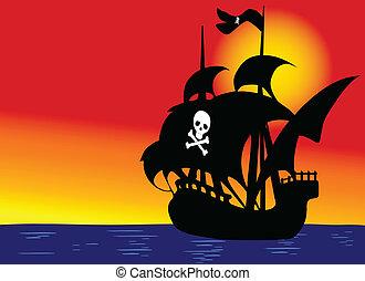 pirata, barco, en, azul, mar