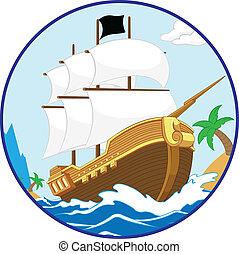 pirata, barco, en, el, orilla