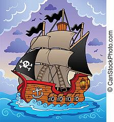pirata, barco, en, mar tempestuoso