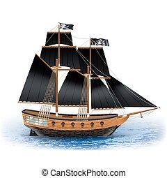 pirata, barco, ilustración