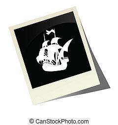 pirata, barco, imagen, vector