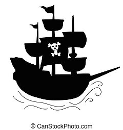 pirata, barco, negro, ilustración