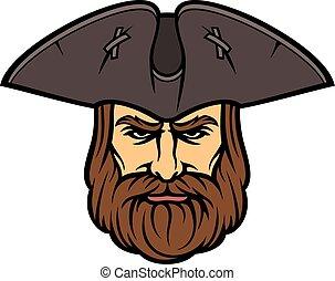 pirata, cabeza, con, marinero sombrero