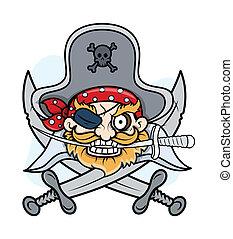 pirata, capitano, mascotte, -, vettore