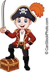 pirata, caricatura, espada, segurando