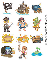 pirata, cartone animato, icona