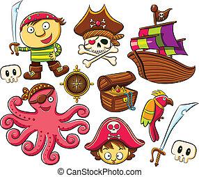 pirata, colección, conjunto