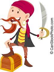 pirata, con, faccia tesoro torace, cartone animato, illustrazione
