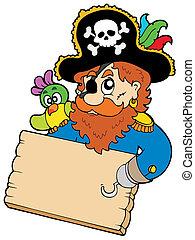 pirata, con, loro, tenencia, tabla