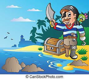 pirata, costa, 2, jovem, caricatura