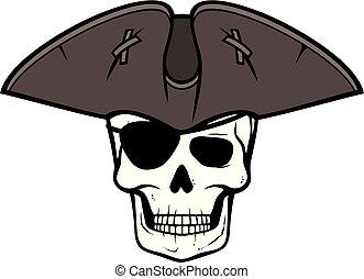 pirata, cráneo, con, triángulo, sombrero, y, parche