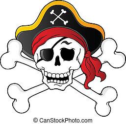 pirata, cranio, tema, 1