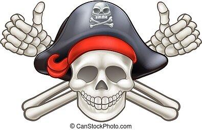 pirata, crossbones cranio