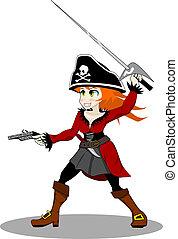 pirata, donna, vettore