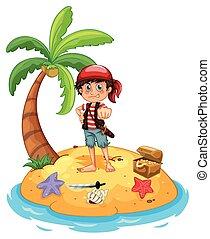 pirata, e, isola