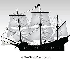 pirata, en, el suyo, barco, ilustración
