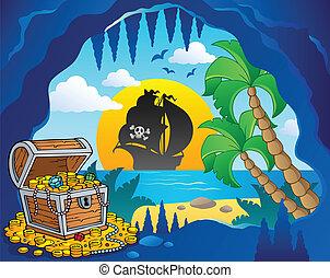pirata, enseada, tema, imagem, 1