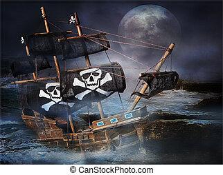 pirata, fantasma, barco