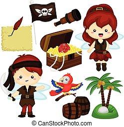 pirata, fata, vettore, set