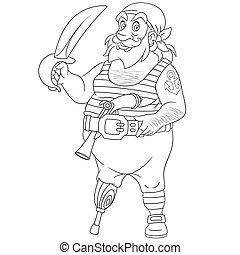 pirata, gamba, uno, pagina, coloritura