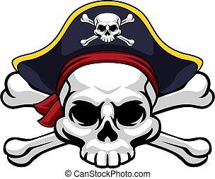 pirata, giocondo, cappello, roger, crossbones cranio