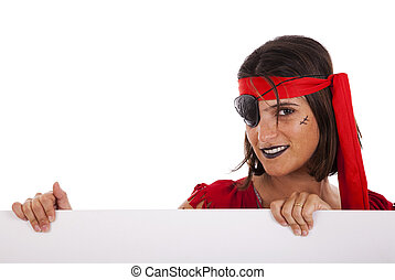 pirata, holding donna, uno, bandiera