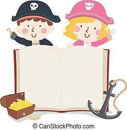 pirata, ilustração, livro aberto, crianças, tesouro, âncora