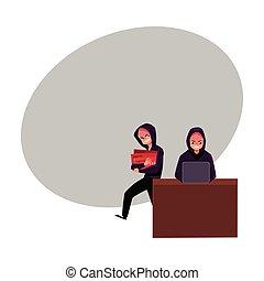 pirata informático, alfiler, dinero, rotura, código, credito, agrietamiento, robar, smartphone, tarjeta