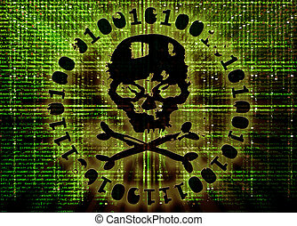 pirata informático, ataque, concepto, cubierta, ilustración