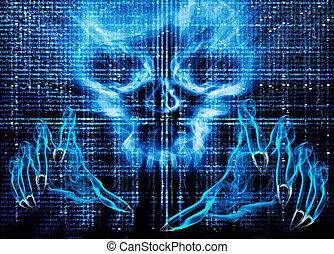 pirata informático, ataque, concepto