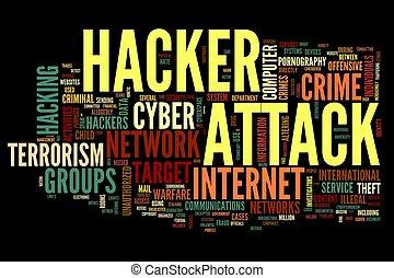 pirata informático, ataque, en, palabra, etiqueta, nube