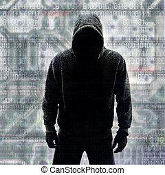 pirata informático, en, silueta, y, binario, códigos