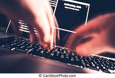 pirata informático, en, trabajo