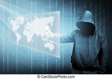 pirata informático, encapuchado, silueta, computadora hombre