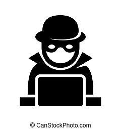 pirata informático, espía, buscando, laptop., vector, anónimo, icono